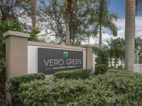 vero green apartments community sign