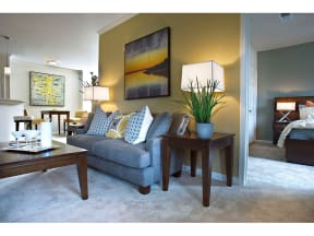 Living Room With Bedroom View at The Residence at Marina Bay, Irmo, South Carolina