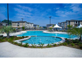 Extensive Resort Inspired Pool Deck at The Residence at Marina Bay, Irmo, SC