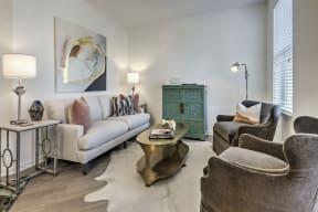 Sophisticated Living Room at Residence at Tailrace Marina, North Carolina, 28120