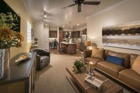 Living Room With Kitchen View| Villas at San Dorado