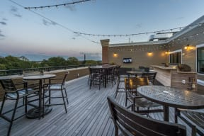 High top tables on rooftop deck