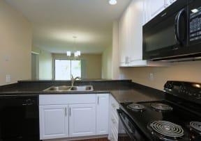 Kitchen with black appliance package   Jupiter Isle