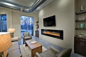 Clubhouse fireplace   Lofts at Zebulon