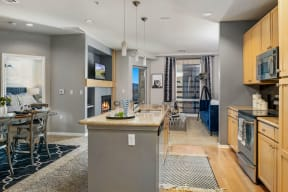 Open concept kitchen and living area |1600 Glenarm