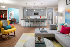 Open concept kitchen and living area  | District at Rosemary