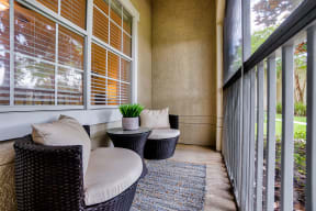 Homes feature private patios or balconies  | Estates at Heathbrook