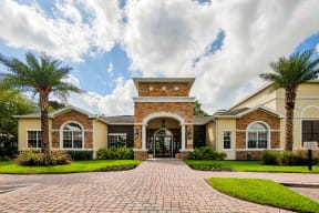 Entrance to clubhouse and leasing office  | Estates at Heathbrook