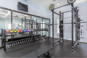 Fitness Center with Weight Rack   Cypress Legends