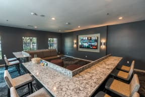 theater room with couches and bar seating