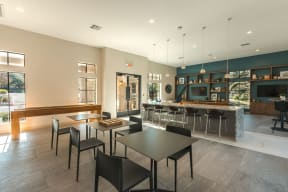 clubroom with tables and chairs
