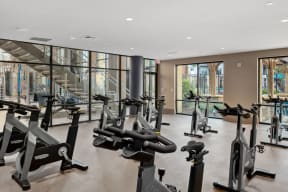 Two story fitness club with spin bikes   Inspire Southpark