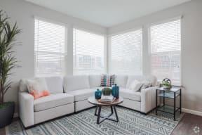 living room with corner windows