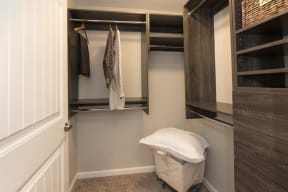 walk-in closet with custom shelving
