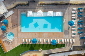 aerial of pool and lounge chairs