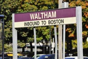 MBTA sign in Waltham | Inbound to Boston