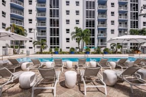 Pool with lounge chairs | Paramount on Lake Eola
