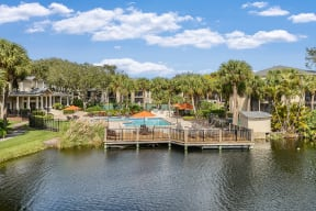 Aerial view of pool and sundeck  | Lakes at Suntree