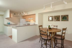 Dining room and kitchen | 1 bedroom apartment | Promenade at Reflection Lakes