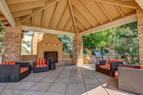 Outdoor lounge with fireplace  | Vizcaya