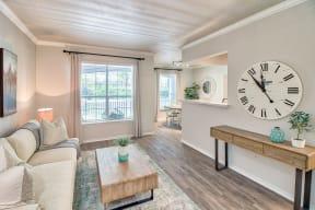Apartment living room with bright interior light | Lodge at Lakeline Village