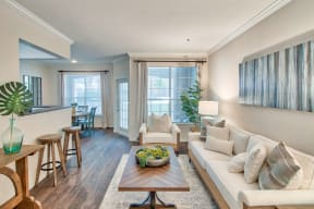 Living Room With Kitchen View| Lodge at Lakeline Village