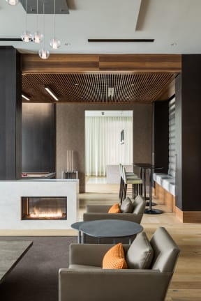 seating lounge with fireplace