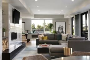 Clubroom Couch And Tv At Revel Apartments In Minneapolis, MN