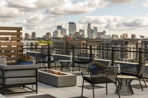 Minneapolis Skyline From Rooftop Deck At Revel Apartments