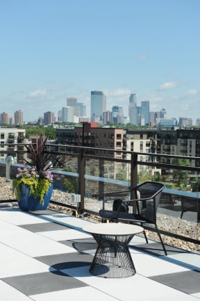 Minneapolis Skyline From Rooftop At Revel Apartments