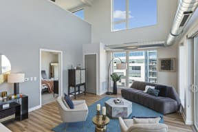 Ample Natural Lighting In Penthouse Living Room At Revel Apartments In Minneapolis, MN
