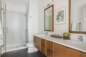 Double Vanity In Bathroom At Revel Apartments In Minneapolis, MN