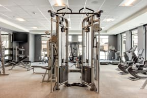 24 hour fitness center complete with a variety of equipment and an indoor sauna.