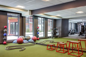 Fitness center with a mirror wall, personal workout equipment, box jumps, and more.