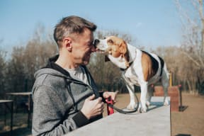 Image of a man and his Beagle dog smiling happily. We are a pet friendly community.