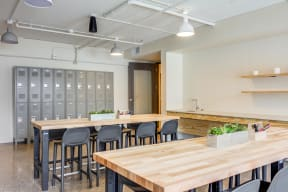 A spacious DIY and creative workshop space with lockers and tables for you to get creative with friends!