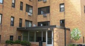 The Portage apartment building entrance