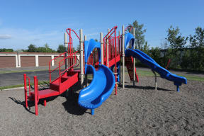 Bright and colorful community playground.