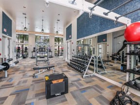 High-quality fitness equipment in the exclusive fitness center amenity at Coda Orlando apartment rentals