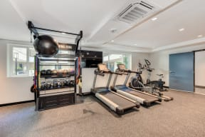 Fitness Center with Treadmills, Yoga Balls, Kettle Bells, and Mounted Flat Screen Television