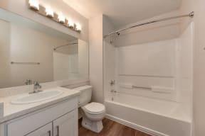 Bathroom with Wood Inspired Floor, Toilet, Vanity and Bathtub