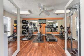 Fitness Center with Yoga Balls, Hardwood Inspired Floor,Treadmills, Ellipticals, and Excercise Bike