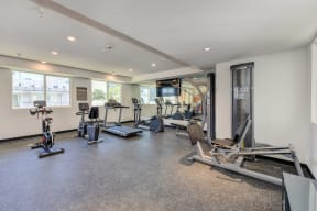 Community Fitness Center with treadmill, bike and other cardio machines