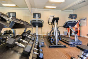 Free weight and cardio equipment in the fitness center.