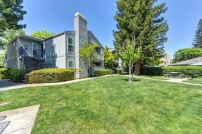 Large Grass Area with Picnic Table and Apartment Exterior