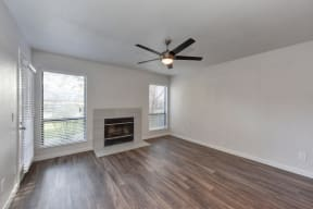 Living Room with Fireplace, Wood Inspired Floor, Ceiling Fan/Light