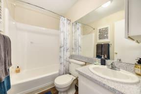 Bathroom with Hardwood Inspired Floor, Toilet, Bathtub and Sink