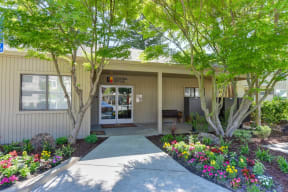 Office Exterior with Landscaping, Walkways, Trees and Flowers
