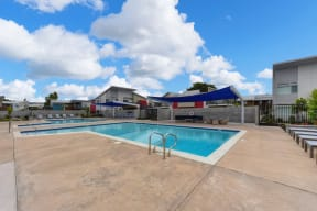 Pool and Seating Area, Fire Station, Blue/Black Seats, Blue Skies and Clouds