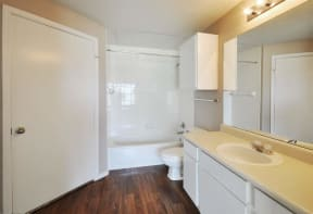 Solid Cultured Marble Bathroom Counter Tops at Stoneleigh on Cartwright Apartments, J Street Property Services, Mesquite,Texas